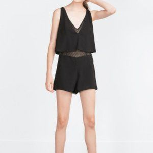 Zara black layered rompers with sheer underlay, M